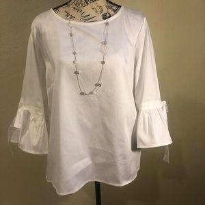 Liz Claiborne blouse white with  ruffle sleeves